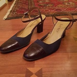 Size 9 Ralph Lauren leather strappy heels.